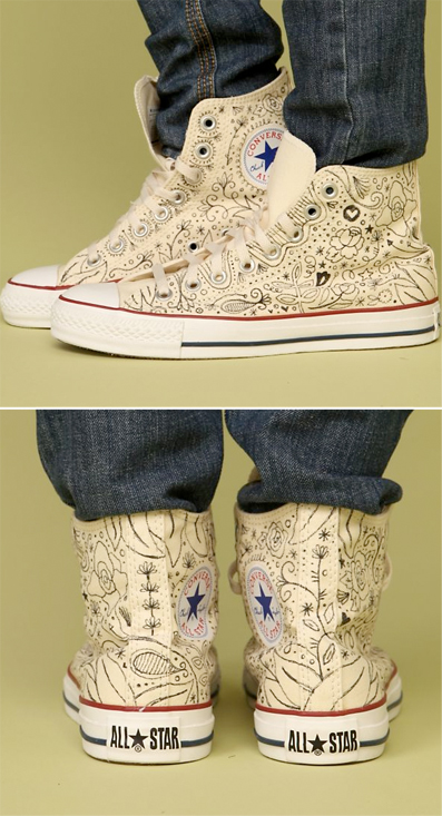 Hand Drawn Floral Converse