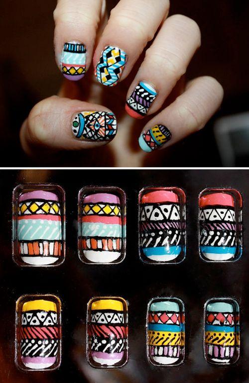 Aztec Nail Art - Fly